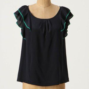 Anthropologie all aflutter blouse Odille navy Sz2